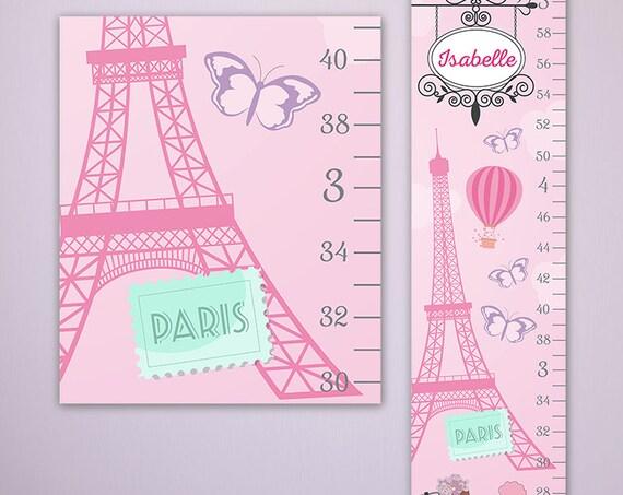 Paris Growth Chart -  Height Chart Ruler, Girls Growth Chart, Canvas Growth Chart, Pink Growth Chart - GC2001P