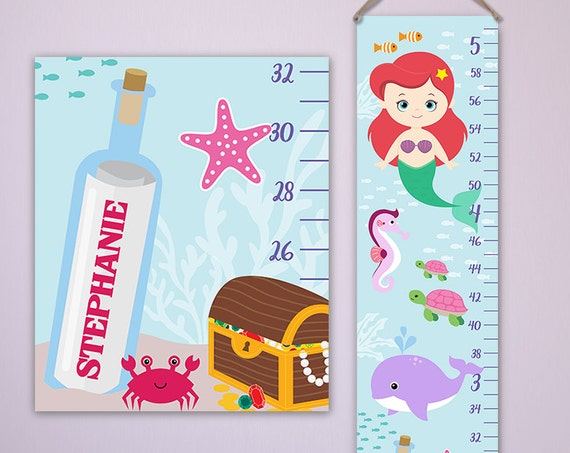 Mermaid Growth Chart - Personalized Canvas Growth Chart Perfect for Mermaid Nursery, Mermaid Baby, Ocean Nursery,  Under the Sea - GC4336R