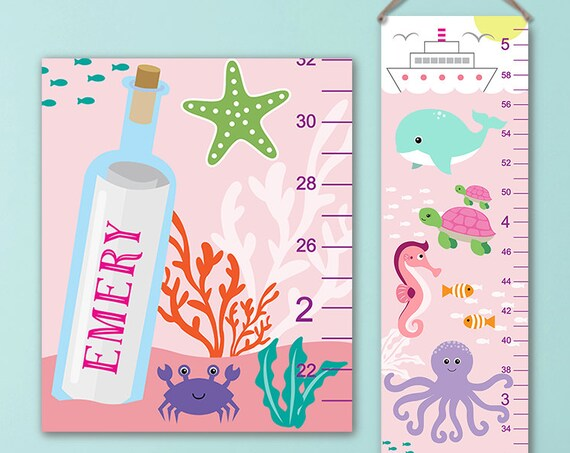 Ocean Growth Chart - Personalized Canvas Growth Chart, Under the Sea Nursery, Ocean Height Chart, Under The Sea Growth Chart - GC4002P, S