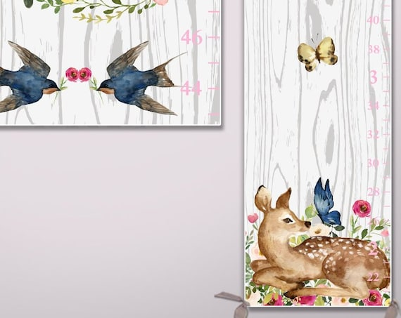 Woodland Growth Chart on Canvas - Watercolor Woodland Animals  | Watercolor Animals | Woodland Nursery Decor | Woodland Baby | Woodland Kids