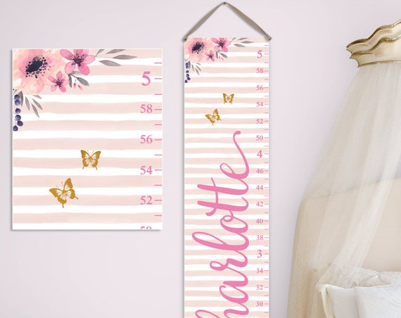 Floral Nursery Decor - Personalized Canvas Growth Chart, Floral Growth Chart, 1st Birthday Gift