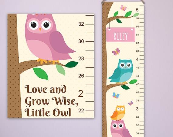 Owl Growth Chart - Pick Your Color - Personalized Canvas Growth Chart, Owl Nursery Decor, Owl Baby Art, Personalized Toddler Gift - GC4000C