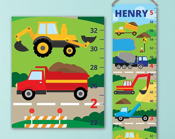 Trucks Growth Chart - Trucks Decor, City Growth Chart, Trucks First Birthday Gift Boy - GC4675S