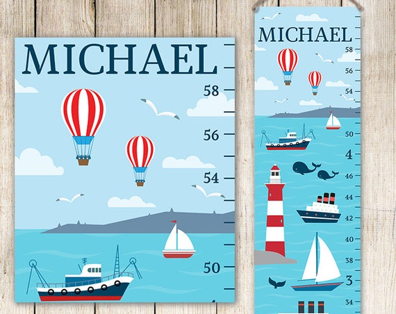 Nautical Growth Chart - Canvas Personalized Growth Chart, Growth Chart Boy, Ocean Growth Chart GC3001S