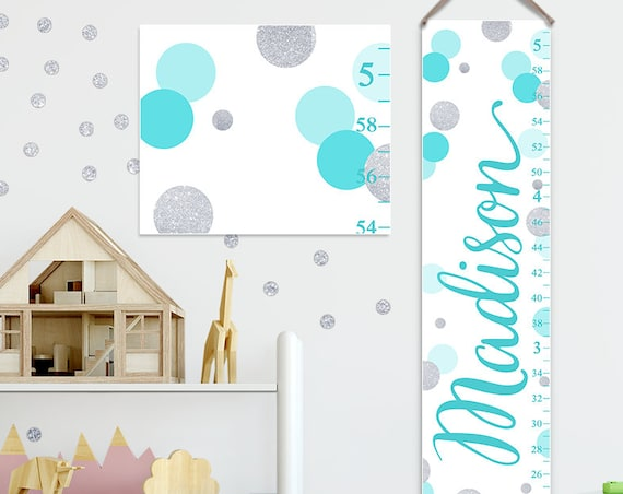 Aqua and Silver Growth Chart, Aqua and Gray Nursery, Personalized Canvas Growth Chart, Polka Dots Growth Chart  - GC2034A