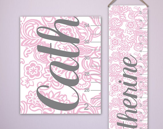 Floral Print Growth Chart - Personalized Canvas Growth Chart, Growth Chart Girls - GC6341P