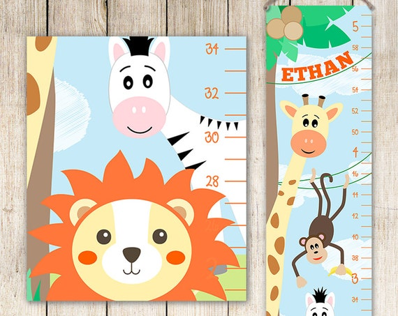 Giraffe Growth Chart - Boys Growth Chart,  Giraffe Art, Personalized Toddler Gift, Height Chart, Kids Art - GC4001B