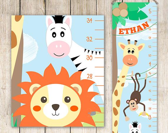 Growth Chart Safari - Boy Growth Chart,  Giraffe Growth Chart, Safari Wall Art, Safari Nursery Decor, Safari Animals - GC4001B