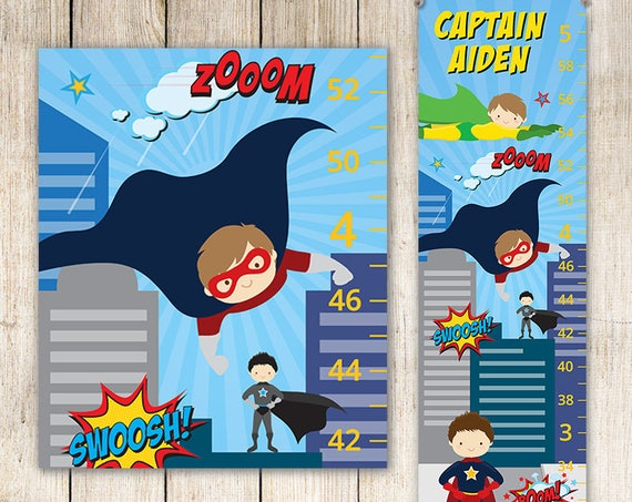Superhero Birthday Gift - Canvas Growth Chart - Perfect for Superhero Nursery, Superman Kids Art GC4668A