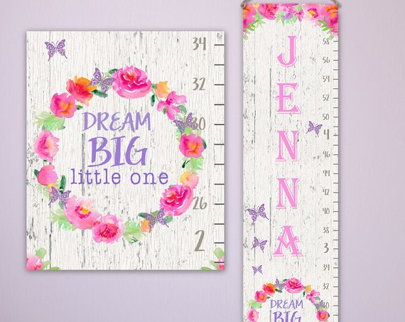 Dream Big Growth Chart - Personalized Canvas Growth Chart - Wooden Ruler, Wood Growth Chart, Height Stick, Wooden Growth Chart - GC1003W