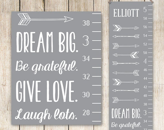 Modern Growth Chart - Personalized Canvas Growth Chart, Grey Kids Art, Growth Ruler, Growth Chart Ruler, Personalized Kids Art
