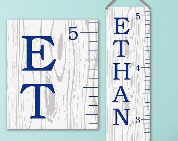 Canvas Growth Chart Ruler with Modern Illustrated Wood Design |  Personalized Growth Chart | Boy Growth Chart - GC0113N_170