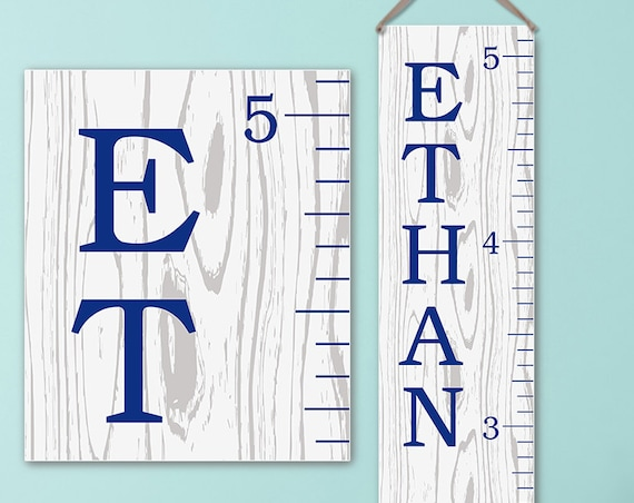 Growth Chart - Canvas with Wood Design, Growth Chart Ruler, Wooden Growth Chart, Wood Growth Chart Alternative - GC0113N_170