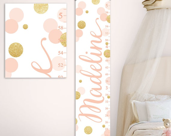 Gold and Blush Canvas Growth Chart  - Personalized Growth Chart