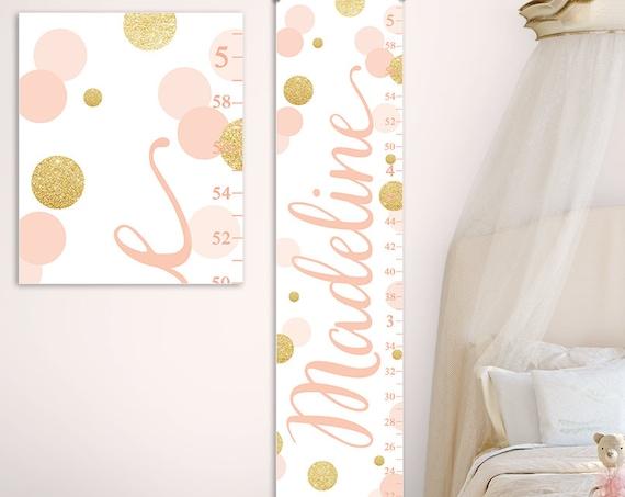 Growth Chart Girl - Gold and Blush Nursery Decor, Gold Nursery Decor, Blush Pink Nursery, Blush Nursery Decor, Heigh Chart  - GC2037BH