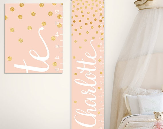 Growth Chart in Blush and Gold - Personalized Canvas Growth Chart, Gold and Blush Nursery Decor, Gold and Blush Baby - GC2032H