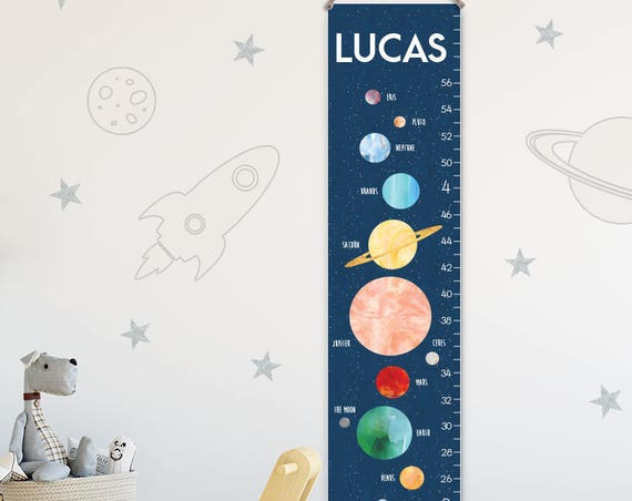 Solar System Growth Chart - Personalized Canvas Growth Chart, Space Nursery Decor or Solar System Nursery, Solar System Print