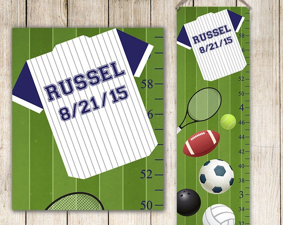 Baseball Growth Chart - Sports Decor, Canvas Growth Chart, Perfect For Sports Nursery, Sports Decor - GC3003S