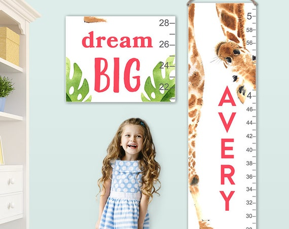 Giraffe Growth Chart - Personalized Canvas Growth Chart, Giraffe, Giraffe Gift, Giraffe Print, Jungle Baby, Animal Prints  - GC4010SW