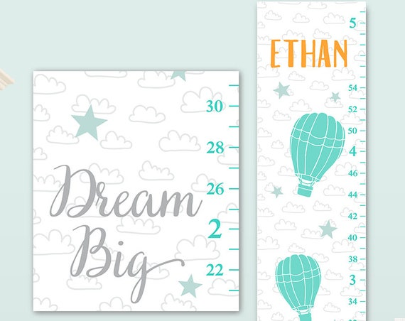 Boys Growth Chart on Canvas - Boys Nursery Decor, Toddler Gift for Boy, Dream Big Art  - GC8010O