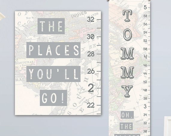 Oh The Places You'll Go Art - Personalized Canvas Growth Chart, Height Chart, Boy Growth Chart, Canvas Growth Chart - GC8003S