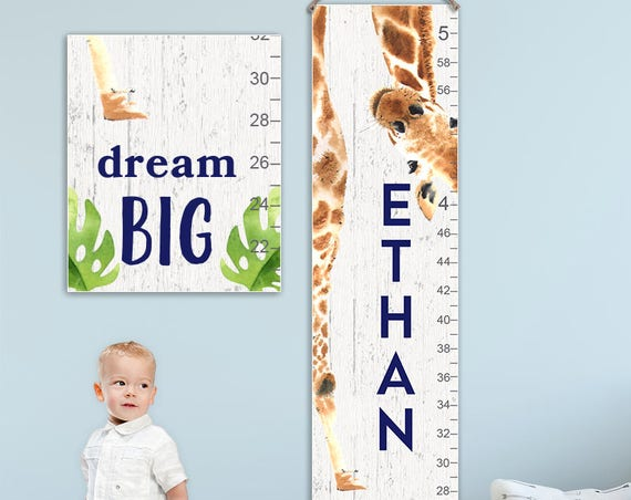 Giraffe Growth Chart on Canvas
