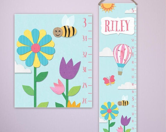 Paper Cut Style Growth Chart - Personalized Canvas Growth Chart, Paper Cut Style, Floral Growth Chart, Girls Growth Chart, Flowers