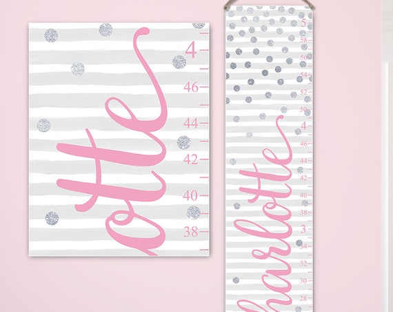 Girl Growth Chart - Personalized Canvas Growth Chart, Pink and Silver Nursery Decor, Polka Dots Nursery Decor  - GC2028P