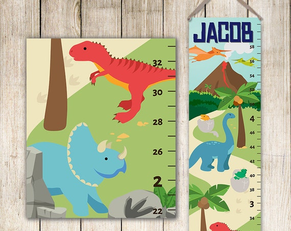Dinosaur Growth Chart - Canvas Growth Chart, Dinosaur Nursery Decor, Dino Nursery Art, Dinosaur Decor, Dinosaur Ruler