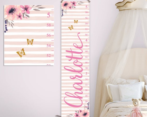Boho Growth Chart - Canvas Growth Chart;  Growth Chart Ruler, Personalized Growth Chart, One Year Old Gift  - GC2041P