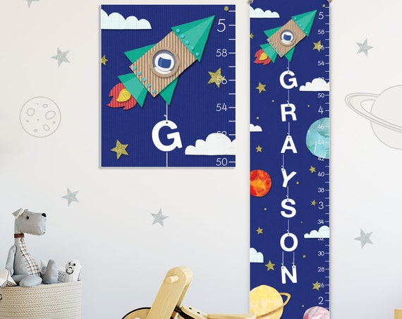Spaceship Growth Chart - Personalized Canvas Growth Chart, Space Nursery Decor or Solar System Nursery, Solar System Print - GC3018S