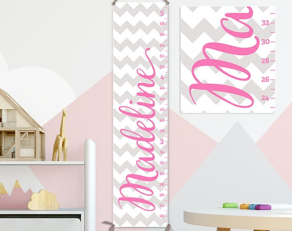 Chevron Growth Chart, Chevron Nursery, Pink and Grey Nursery, Pink and Gray Nursery Decor, Pink Chevron, Pink and Grey Chevron - GC6016G