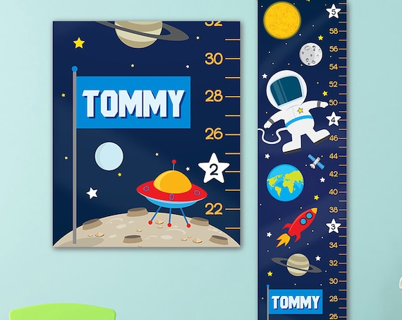 Growth Chart for Outer Space Nursery - Personalized Canvas Growth Chart, Space Nursery, Solar System Nursery, Space Growth Chart