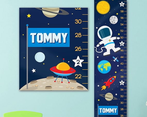Growth Chart for Outer Space Nursery - Personalized Canvas Growth Chart, Space Nursery, Solar System Nursery, Space Growth Chart - GC4003U