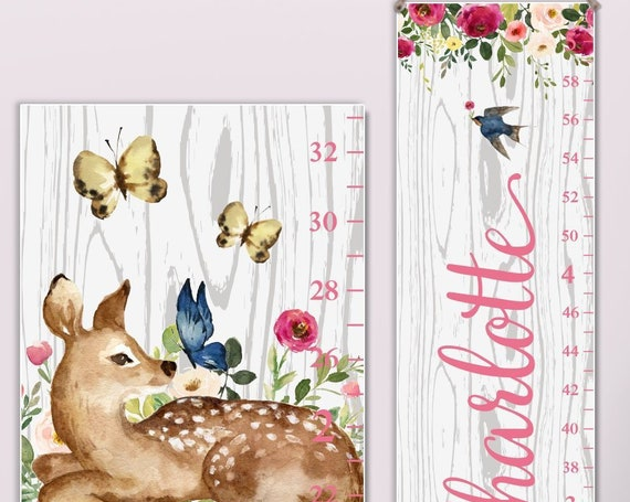 Woodland Growth Chart |  Woodland Nursery | Canvas Growth Chart | Deer Growth Chart | Animal Nursery Decor | Woodland Decor