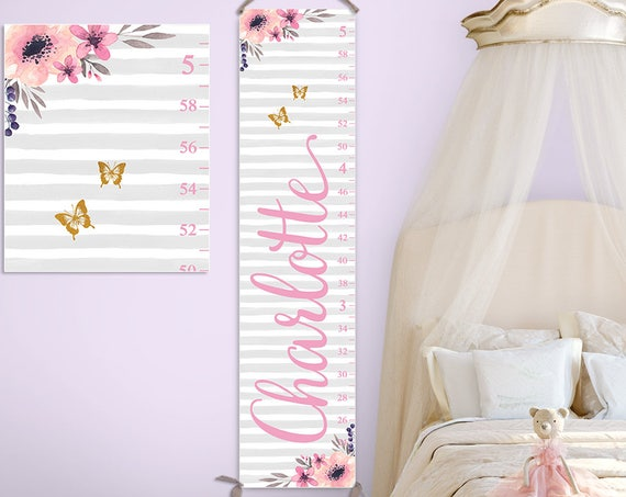 Floral Nursery Decor - Personalized Canvas Growth Chart, Floral Growth Chart, Watercolor Flowers - GC2017G