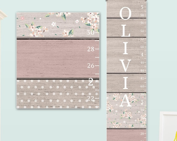 Pink & Grey Growth Chart - Canvas Growth Chart, Personalized Growth Chart, Girls Growth Chart