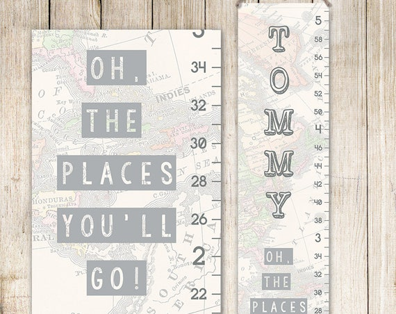 Growth Chart - Oh The Places You'll Go! - Personalized Canvas Growth Chart, Map Growth Chart - GC8003S