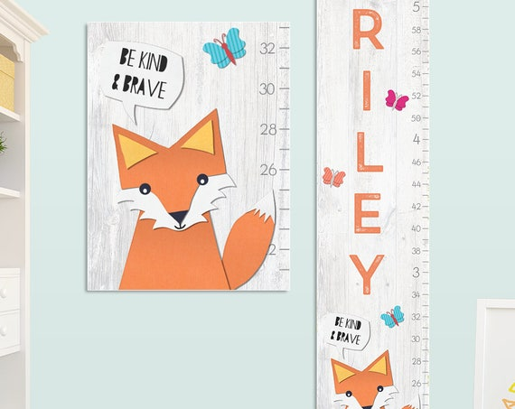 Fox Growth Chart - Personalized Canvas Growth Chart, Fox Nursery, Fox Height Chart, Fox Kids Art, Fox Height Ruler, Woodland - GC4006O