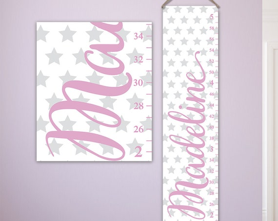 Personalized Growth Chart for Girls with Stars Design - Perfect for Star Nursery, Canvas Growth Chart, Girls Growth Chart - GC6335W