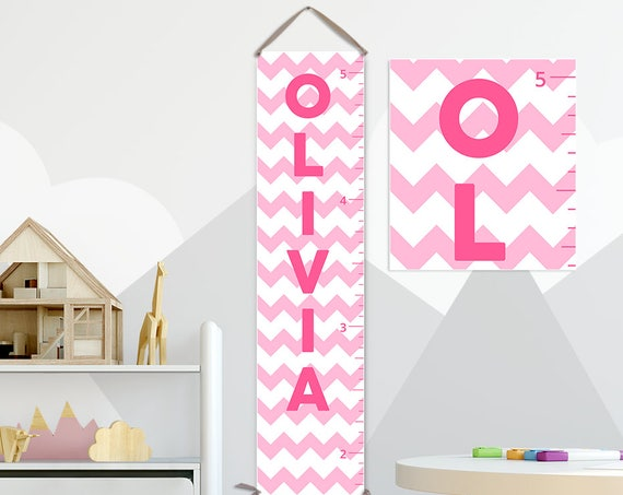 Chevron Growth Chart, Chevron Nursery, Pink and Grey Nursery, Pink and Gray Nursery Decor, Pink Chevron, Pink and Grey Chevron - GC6017P