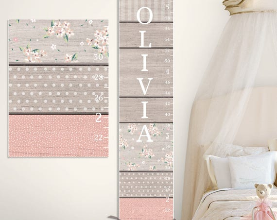Blush & Grey Growth Chart - Canvas Growth Chart of Wood Image, Personalized Growth Chart, Girls Growth Chart - GC0115H