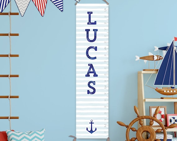 Nautical Growth Chart -  Canvas Personalized Growth Chart, Boy Growth Chart, Nautical Nursery Decor, Nautical Boys Room - GC3017S