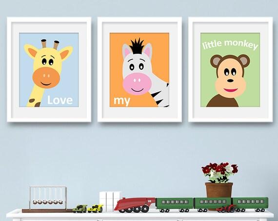 Safari Nursery Decor - Nursery Animals Wall Art Set of 3 Prints - Safari Animals, Set of 3 Wall Art, Set of 3, Giraffe - KA4001S