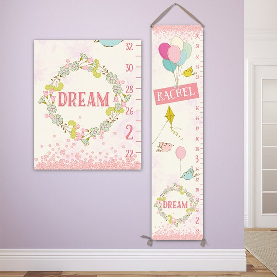 Pink Growth Chart Sweet Dreams Personalized Canvas Growth Etsy