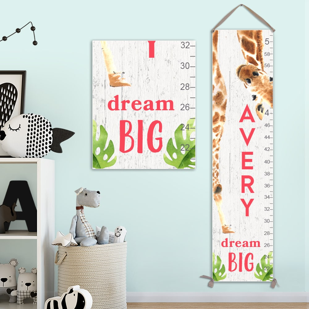Giraffe Growth Chart Personalized Canvas Growth Chart Giraffe
