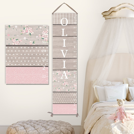 Girls Canvas Growth Chart  - Pink & Grey, Girls Growth Chart