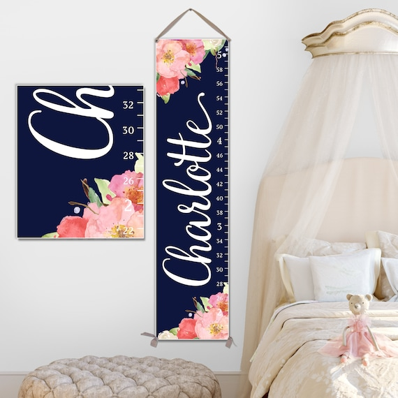 Navy Growth Chart Girl - Floral Growth Chart for Floral Nursery | Canvas Growth Chart
