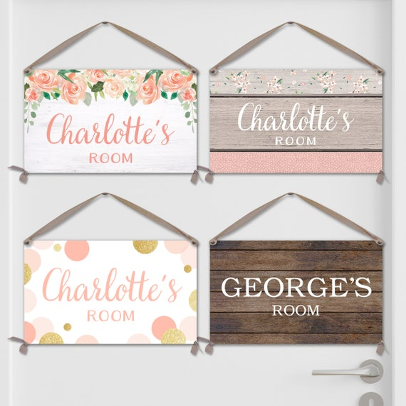 Personalized Kids Bedroom Door Sign / Kids Name Sign on Canvas - Matches our Growth Charts. Many Styles!