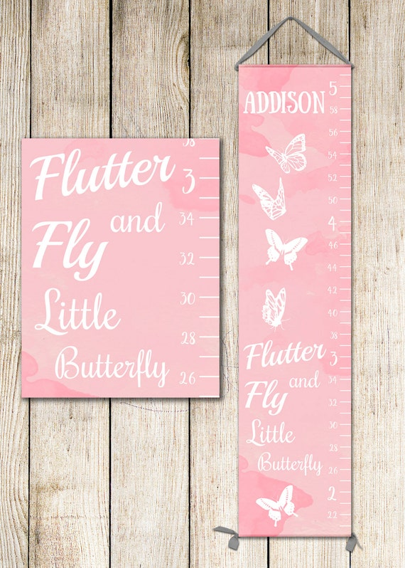 Butterfly Art - Personalized Canvas Growth Chart, Butterfly Nursery Decor, Growth Chart Girl, Height Chart - GC2000P